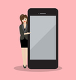 Business woman pointing to the screen of a vector image vector image
