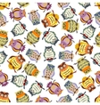 Cartoon colorful owls seamless pattern background vector image vector image