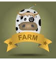 cartoon logo with a cow vector image