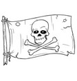 cartoon of pirate flag with skull and bones vector image