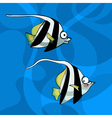 cartoon two striped fish vector image vector image