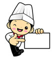 chef character is promoting a business card vector image vector image