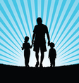 children with dad in nature silhouette vector image vector image