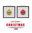 christmas balls frame and greetings card vector image
