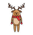 cute scribble christmas deer cartoon vector image vector image