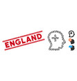 distress england line stamp and mosaic positive vector image vector image