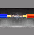 electric cable with sparks on transparent vector image vector image
