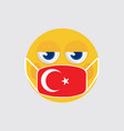 emoji wearing a medical mask turkey flag vector image vector image