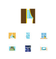 flat icon window set of curtain flowerpot glass vector image vector image