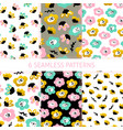 floral trendy seamless patterns vector image vector image