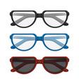 folded glasses set with colorful frames - black vector image vector image