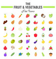 fruit and vegetables flat icon set food symbols vector image