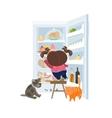 girl taking cake from refrigerator vector image