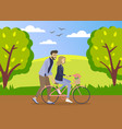 happy young man is helping a smiling woman to ride vector image vector image