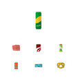 icon flat food set of canned fish love apple vector image