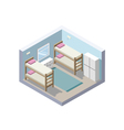 Isometric of hostel room cheap hotel icon vector image vector image