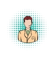 Man with headset comics icon vector image vector image