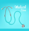 medical care banner template with stethoscope vector image