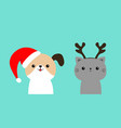 merry christmas cute dog cat face in red santa vector image vector image