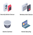 mobile home security gadgets isometric icons vector image vector image
