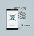 mobile phone scan qr code isolated on blue vector image vector image