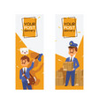 postman mailman delivers mails in postbox vector image vector image