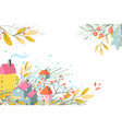 rural seasonal scene with cottages fall or winter vector image vector image