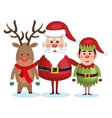 santa claus reindeer and elf christmas vector image vector image