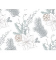 seamless pattern with christmas floral vector image vector image