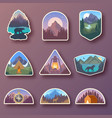 set of nine mountain travel emblems camping vector image vector image