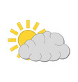 sun with cloud icon weather label for web on vector image vector image