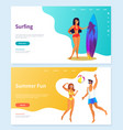 surfing and summer fun beach activity vector image