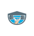 Weightlifter Lifting Barbell Shield Retro vector image vector image