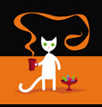 white cat with a cup delicious coffee vector image