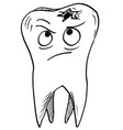 cartoon of decayed carious tooth vector image