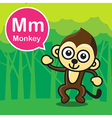 M Monkey color cartoon and alphabet for children vector image