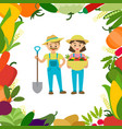 a couple farmers with harvest vector image vector image