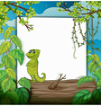 A smiling chameleons and a white board vector image vector image