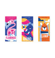 animals and birds colorful posters set flamingo vector image vector image