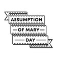 assumption of mary day greeting emblem vector image vector image