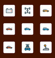 automobile icons colored line set with sedan vector image vector image