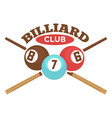 billiard club label template of crossed vector image vector image