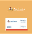 boat logo design with business card template vector image vector image