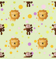 cartoon cute toy baby monkey lion and circles vector image vector image