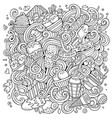 cartoon hand-drawn doodles ice cream vector image vector image
