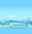 cartoon snowy winter game style landscape vector image