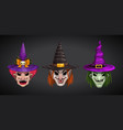 cartoon witches faces on dark background creepy vector image