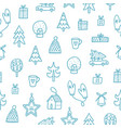 christmas outlined doodle pattern vector image vector image
