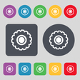 cogwheel icon sign A set of 12 colored buttons vector image vector image