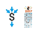 Combine Payments Icon With 2017 Year Bonus Symbols vector image vector image